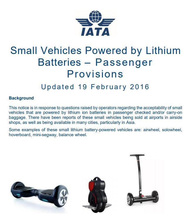 IATA réglementation batterie