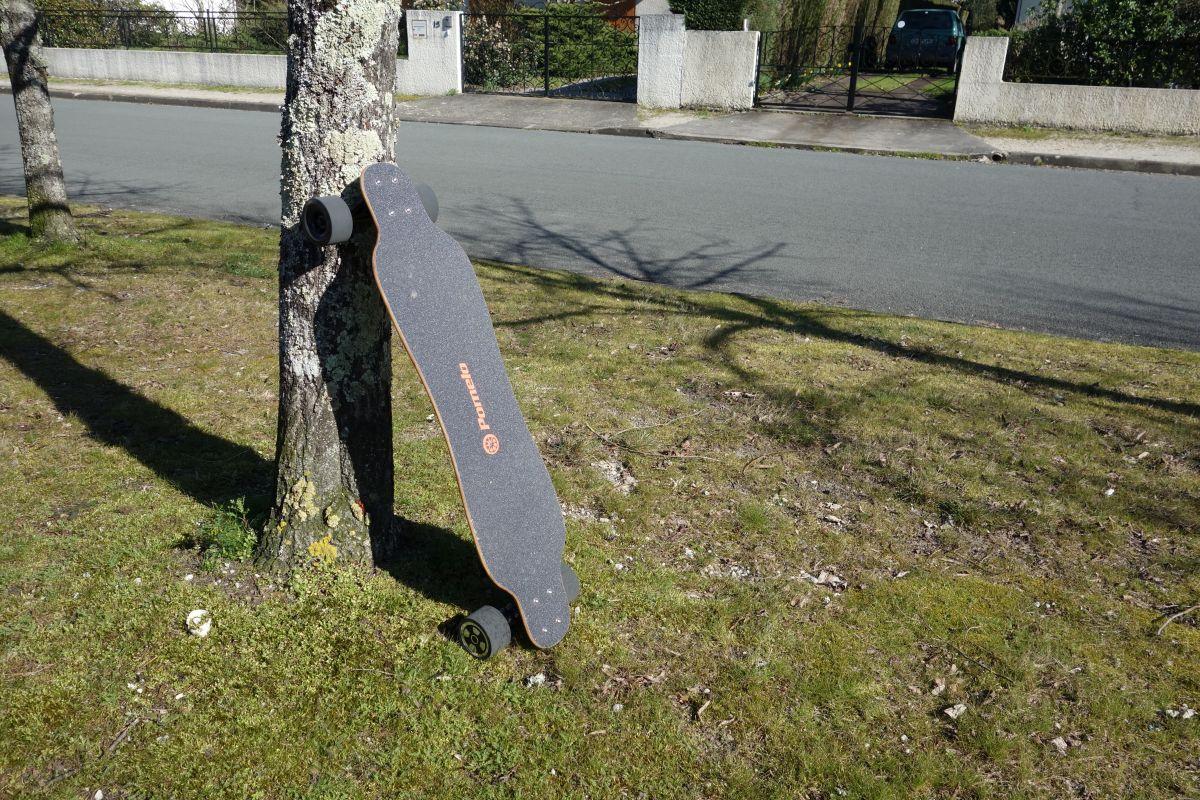 Pomelo P5 contre un arbre