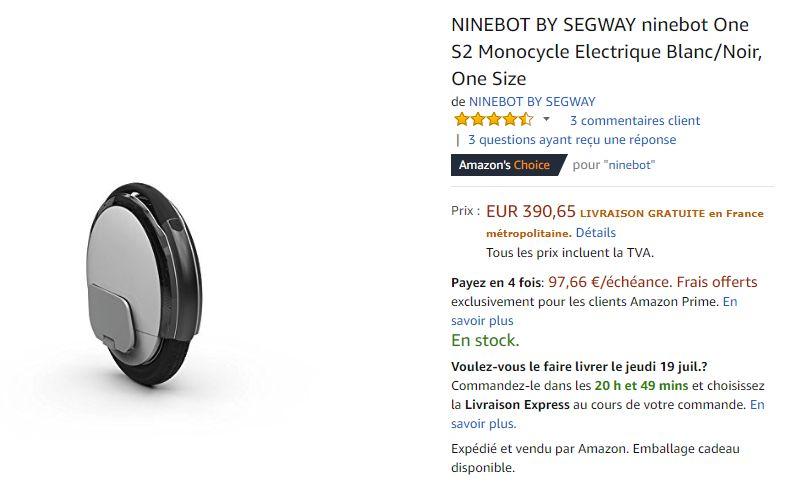 Ninebot One S2 en promo sur Amazon