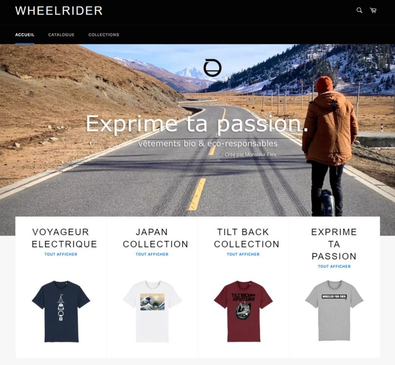 page d'accueil du site wheelrider